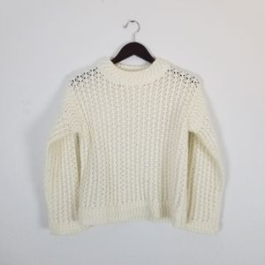 Rebecca Taylor cream knit cropped sweater size s